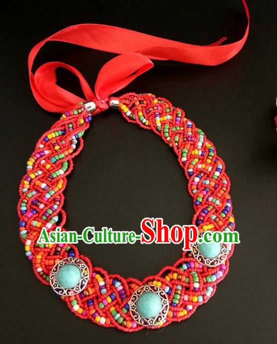 Chinese Traditional Mongol Nationality Weave Red Beads Hair Clasp Mongolian Ethnic Dance Headband Accessories for Women