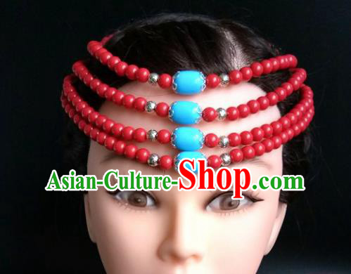 Chinese Traditional Mongol Nationality Red Beads Hair Clasp Mongolian Ethnic Dance Headband Accessories for Women