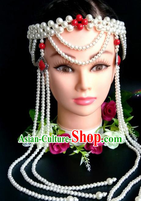 Chinese Traditional Mongol Nationality Red Beads Hair Clasp Mongolian Ethnic Dance Tassel Headband Accessories for Women