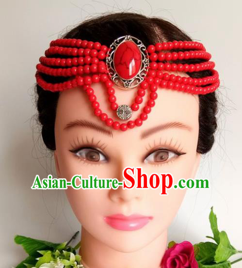 Chinese Traditional Mongol Nationality Female Red Beads Hair Clasp Mongolian Ethnic Dance Headband Accessories for Women