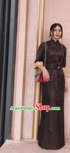Chinese Traditional Zang Nationality Female Brown Silk Dress Tibetan Robe Ethnic Dance Costume for Women