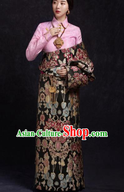 Chinese Traditional Ethnic Black Brocade Tibetan Robe Zang Nationality Female Dress Costume for Women