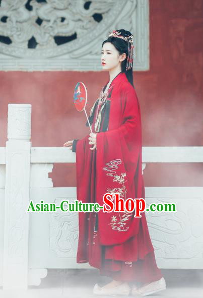 Asian Chinese Ancient Court Princess Wedding Embroidered Hanfu Dress Traditional Ming Dynasty Bride Historical Costume for Women