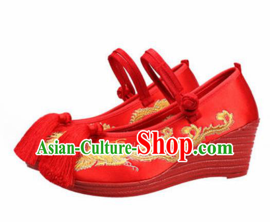 Chinese Traditional Shoes Opera Wedding Satin Shoes Hanfu Princess Shoes Embroidered Phoenix Red Shoes for Women