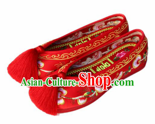 Chinese Traditional Shoes Opera Wedding Satin Shoes Hanfu Princess Shoes Embroidered Magpie Red Shoes for Women