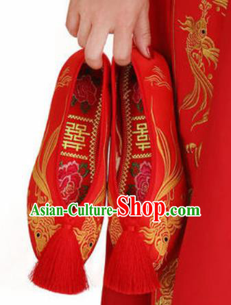 Chinese Traditional Opera Shoes Wedding Shoes Hanfu Princess Shoes Embroidered Red Shoes for Women