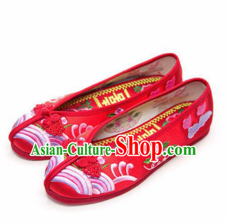 Chinese Traditional Opera Shoes Wedding Red Shoes Hanfu Princess Shoes Embroidered Shoes for Women