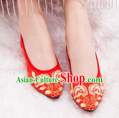 Chinese Traditional Opera Shoes Wedding Red Shoes Hanfu Princess Shoes Embroidered Peony Shoes for Women