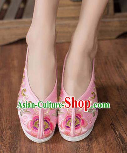 Chinese Embroidered Plum Shoes Traditional Opera Pink Satin Shoes Wedding Shoes Hanfu Princess Shoes for Women