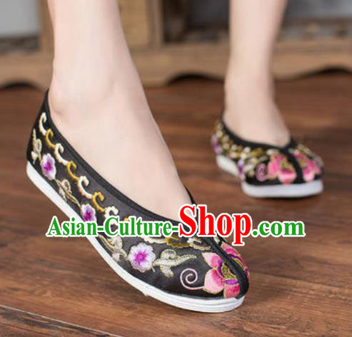 Chinese Embroidered Plum Shoes Traditional Opera Black Satin Shoes Wedding Shoes Hanfu Princess Shoes for Women
