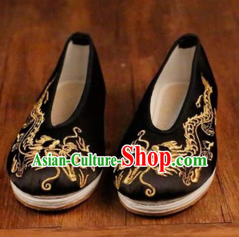 Chinese Embroidered Dragons Shoes Traditional Opera Black Satin Shoes Wedding Shoes Hanfu Princess Shoes for Women
