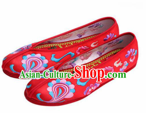Chinese Embroidered Shoes Traditional Opera Red Satin Shoes Wedding Shoes Hanfu Princess Shoes for Women