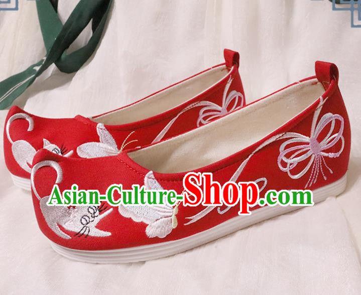 Chinese Traditional Wedding Shoes Opera Shoes Hanfu Princess Shoes Embroidered Butterfly Red Shoes for Women