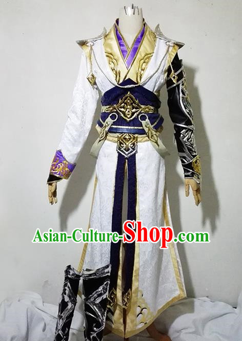 Chinese Traditional Cosplay Royal Highness White Costume Ancient Swordsman Hanfu Clothing for Men