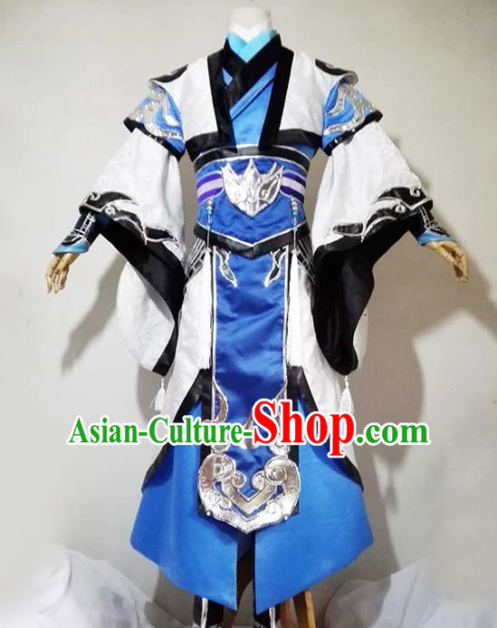 Chinese Traditional Cosplay Royal Highness Blue Costume Ancient Swordsman Hanfu Clothing for Men