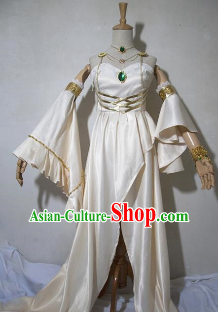Chinese Traditional Cosplay Female Knight Costume Ancient Princess Swordsman Beige Dress for Women