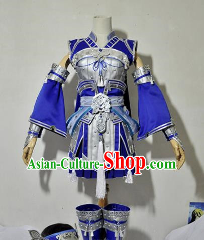 Chinese Traditional Cosplay Female Knight Costume Armour Ancient Swordsman Blue Dress for Women
