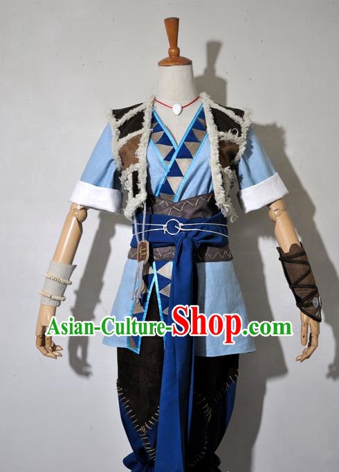 Chinese Traditional Cosplay Young Knight Blue Costume Ancient Swordsman Hanfu Clothing for Men