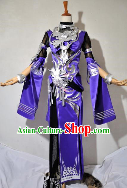 Chinese Traditional Cosplay Knight Purple Costume Ancient Swordsman Dress for Women