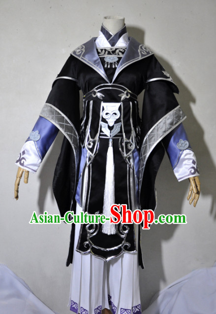 Chinese Traditional Cosplay Crown Prince Black Costume Ancient Swordsman Hanfu Clothing for Men