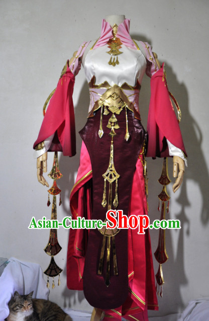 Chinese Traditional Cosplay Princess Knight Rosy Costume Ancient Fairy Swordsman Dress for Women