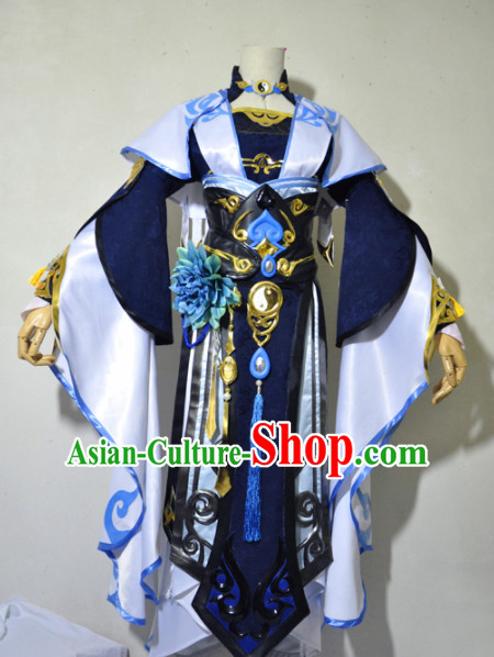 Chinese Traditional Cosplay Princess Knight Navy Blue Costume Ancient Fairy Swordsman Dress for Women
