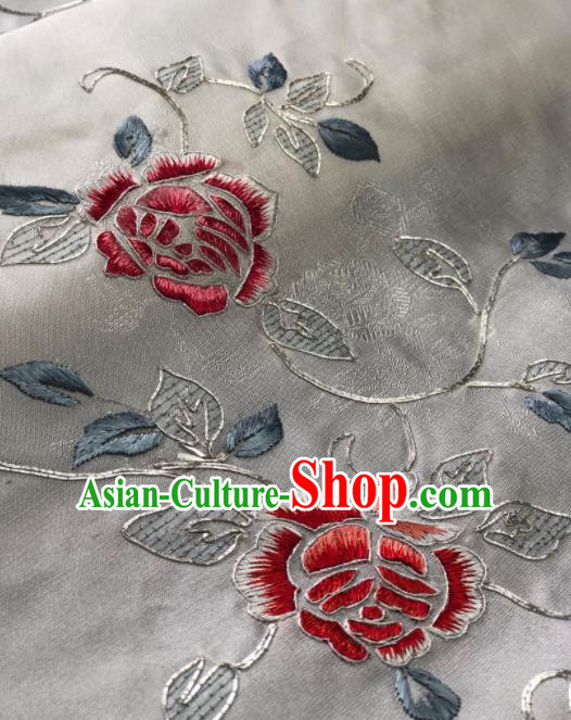 Traditional Chinese Embroidered Peony Flowers White Silk Fabric Classical Pattern Design Brocade Fabric Asian Satin Material
