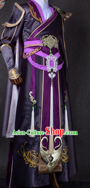 Chinese Traditional Cosplay King Knight Purple Costume Ancient Swordsman Hanfu Clothing for Men