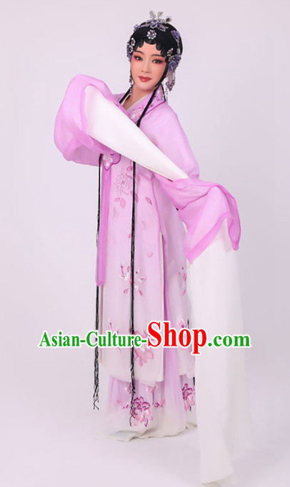 Chinese Traditional Peking Opera Diva Costume Ancient Princess Lilac Dress for Women