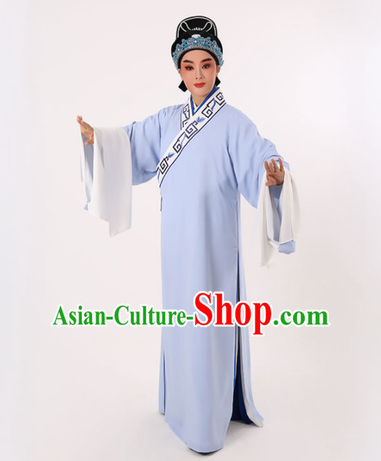 Chinese Traditional Beijing Opera Niche Costume Ancient Scholar Childe Light Blue Robe for Men