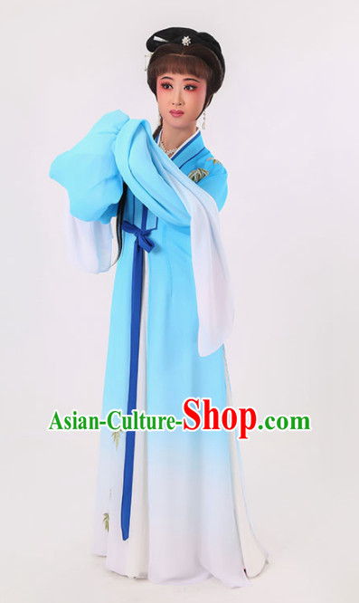 Chinese Traditional Peking Opera Diva Blue Dress Ancient Village Girl Embroidered Costume for Women
