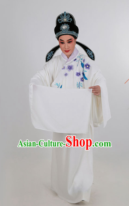 Chinese Traditional Beijing Opera Niche White Robe Ancient Scholar Childe Costume for Men