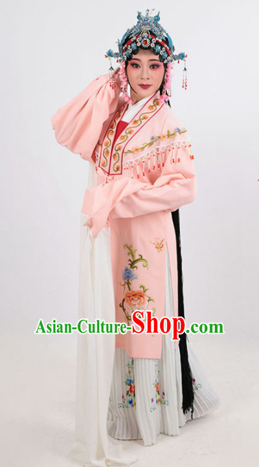 Chinese Traditional Peking Opera Actress Pink Dress Ancient Imperial Consort Embroidered Costume for Women