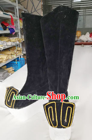 Chinese Traditional Beijing Opera Takefu Black Boots Ancient Swordsman Shoes for Adults