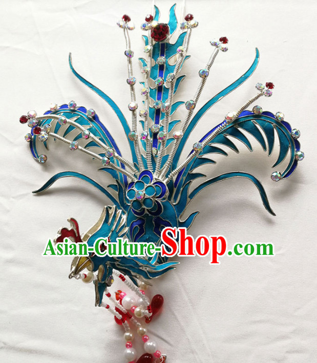 Chinese Ancient Queen Phoenix Coronet Tassel Hairpins Traditional Beijing Opera Diva Hair Accessories for Adults
