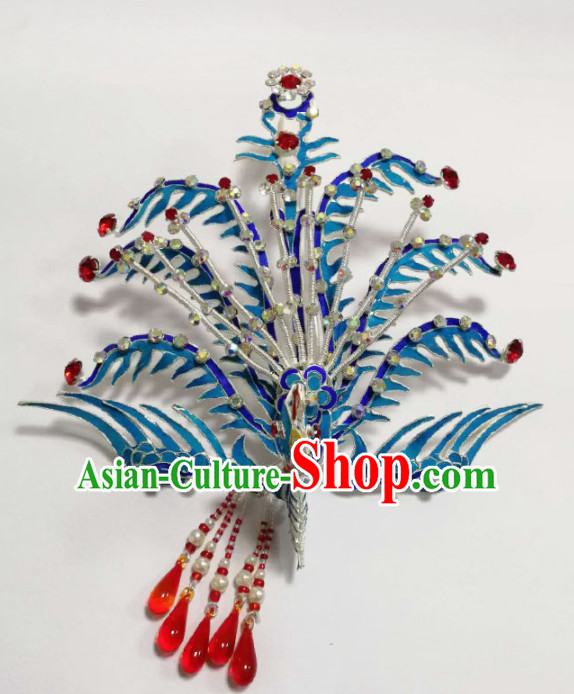 Chinese Ancient Queen Blueing Phoenix Coronet Hairpins Traditional Beijing Opera Diva Hair Accessories for Adults
