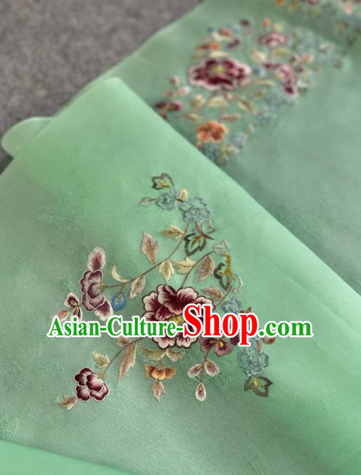 Traditional Chinese Satin Classical Embroidered Peony Pattern Design Green Brocade Fabric Asian Silk Fabric Material