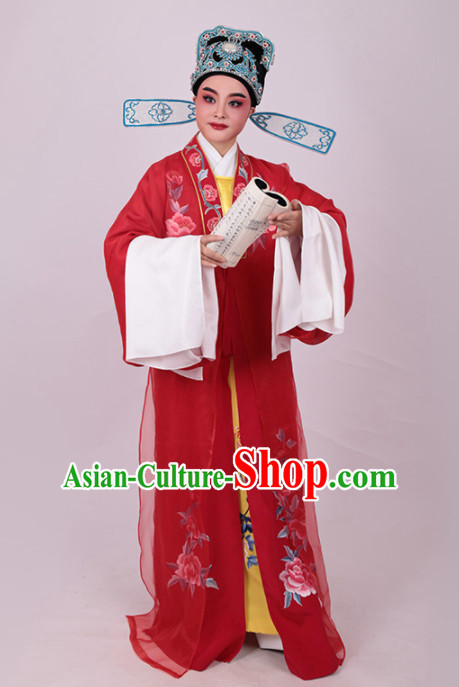 Chinese Traditional Beijing Opera Niche Embroidered Red Robe Ancient Number One Scholar Costume for Men
