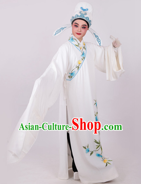 Chinese Traditional Beijing Opera Niche Embroidered White Robe Ancient Number One Scholar Costume for Men