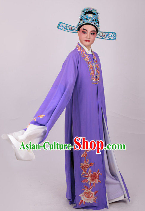Chinese Traditional Beijing Opera Niche Embroidered Peony Purple Robe Ancient Number One Scholar Costume for Men