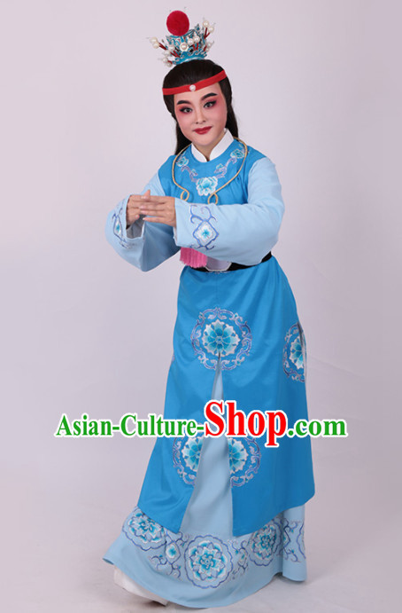 Chinese Traditional Beijing Opera Niche Jia Baoyu Embroidered Blue Robe Ancient Number One Scholar Costume for Men