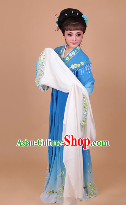 Chinese Traditional Peking Opera Actress Blue Water Sleeve Dress Ancient Peri Princess Embroidered Costume for Women