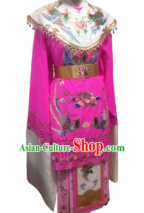 Chinese Traditional Peking Opera Queen Actress Embroidered Rosy Dress Ancient Empress Costume for Women