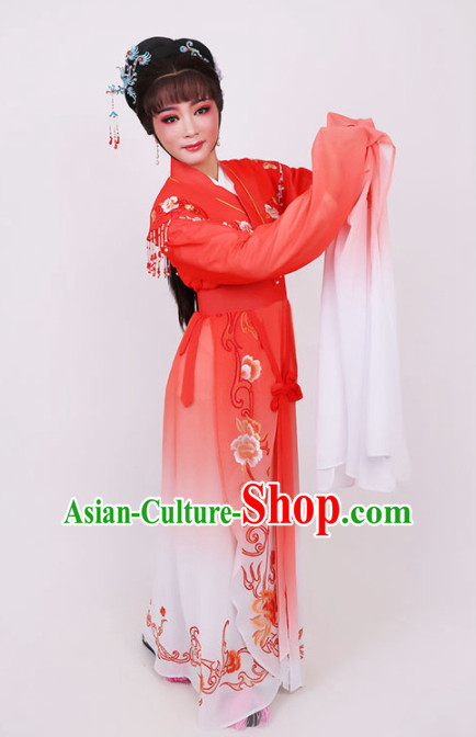 Traditional Chinese Peking Opera Diva Red Dress Ancient Court Princess Embroidered Costume for Women