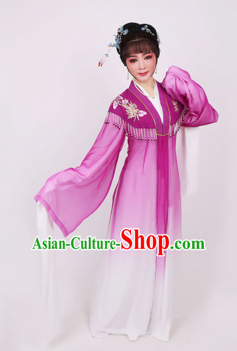 Traditional Chinese Peking Opera Diva Purple Dress Ancient Court Princess Embroidered Costume for Women