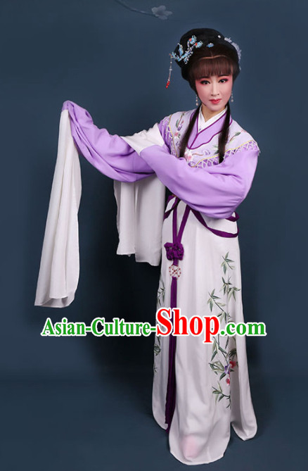 Traditional Chinese Peking Opera Diva Princess Purple Dress Ancient Court Lady Embroidered Costume for Women