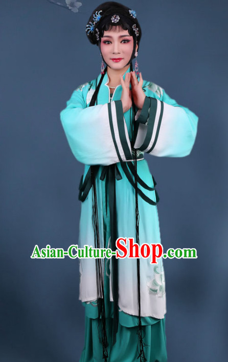 Traditional Chinese Peking Opera Diva Swordplay Green Dress Ancient Female Knight Embroidered Costume for Women