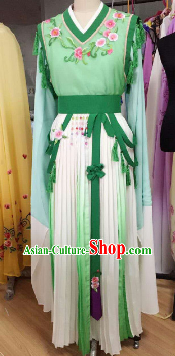 Traditional Chinese Peking Opera Diva Green Dress Ancient Court Maid Embroidered Costume for Women