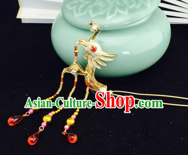 Chinese Ancient Court Princess Golden Phoenix Head Hairpins Traditional Beijing Opera Diva Hair Accessories for Adults