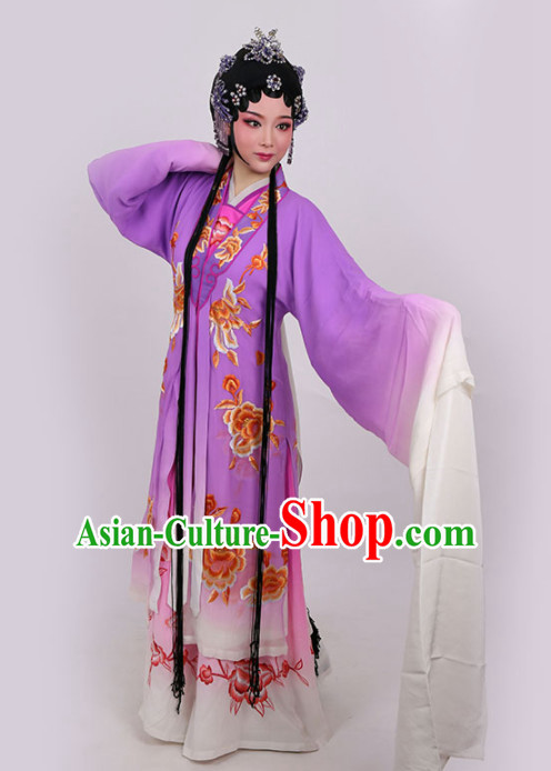 Chinese Traditional Peking Opera Queen Actress Embroidered Purple Dress Ancient Empress Costume for Women